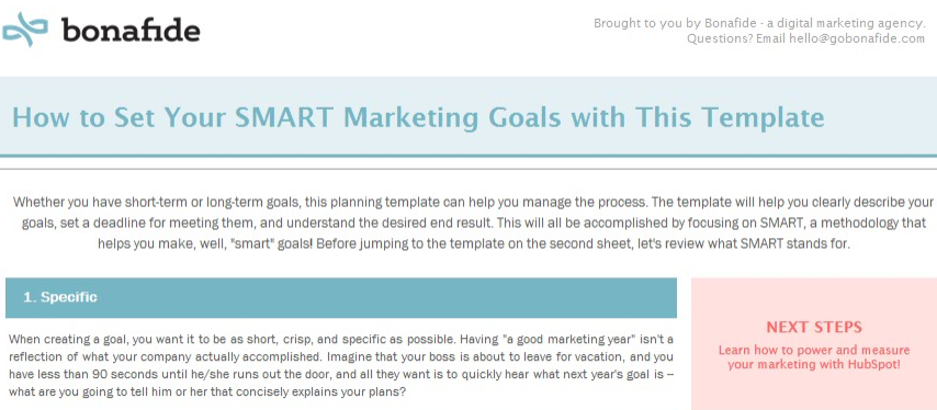 Download the SMART Marketing Goals Template