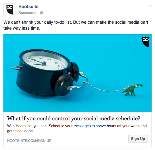 Sponsored Hootsuite ad on Facebook