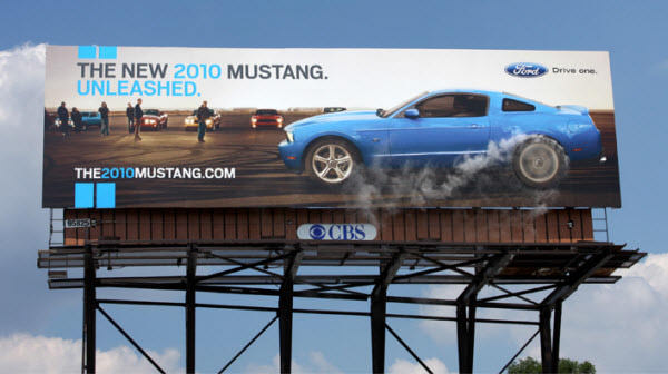Ford Mustang billboard, outbound marketing