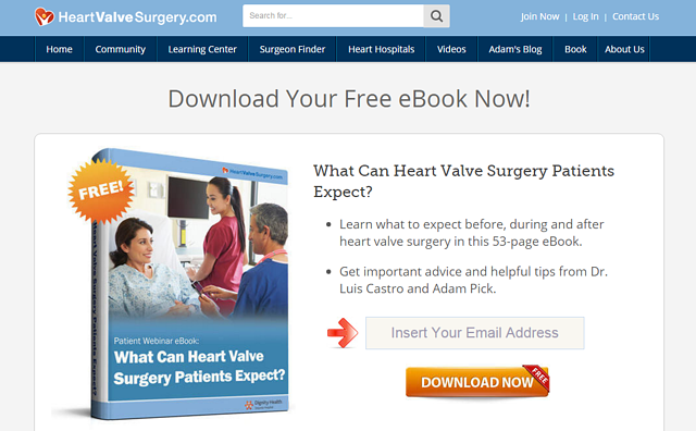 medical ebook landing page