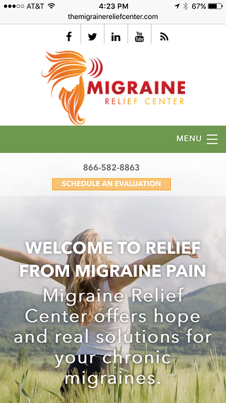 migraine relief center mobile responsive website