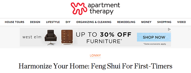 West Elm ad on apartmenttherapy.com