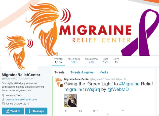 Migraine Relief Center social media profile